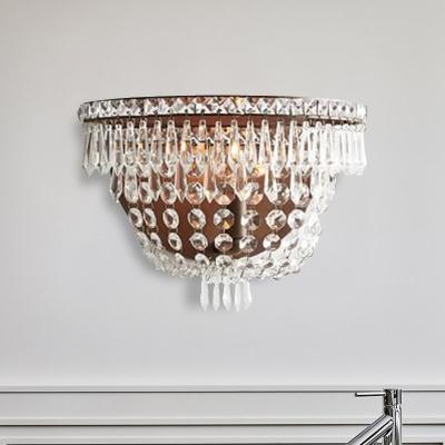 Basket Clear Crystal Sconce Light Modernism 1 Bulb LED Wall Lighting Fixture for Living Room, HL583858