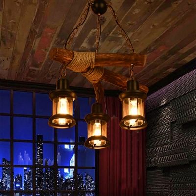 Black Chandelier Lodge Iron and Wood 3 Heads Ceiling Pendant Light with Rope for Cafe