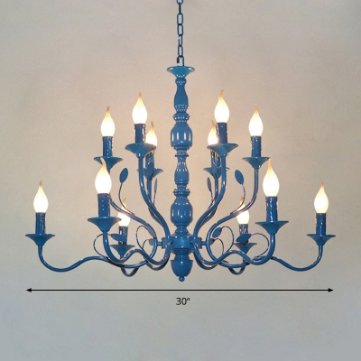 Blue Candle Chandelier Lighting Vintage Metal 10/12/16 Bulbs Restaurant Hanging Ceiling Light