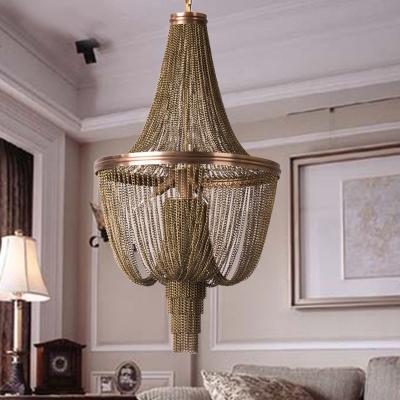 Brown 6 Lights Chandelier Lamp Lodge Metallic Chain Fringe Pendant Light Kit for Living Room