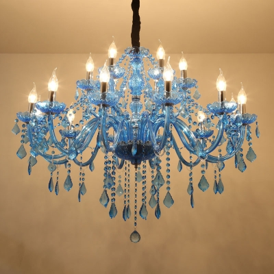 Candle/Cone Crystal Prism Pendant Chandelier Modern 6/18 Bulbs Blue Hanging Ceiling Light with Shade/Shadeless, 23.5