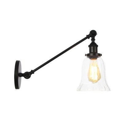 """Clear Glass Bell Wall Mount Light Industrial 1 Light Indoor Sconce in Black/Bronze/Brass with Arm, 8""""/12"""" L, Black;bronze;brass;chrome;copper, HL576064"""