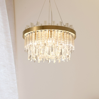 Crystal 2-Tier Ceiling Chandelier Modernist 6 Bulbs Gold Hanging Pendant Light for Dining Room