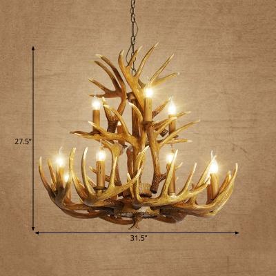 Deer Antler Chandelier Lamp Rustic 9/12 Heads Resin Ceiling Hanging Light in Brown, 21.5