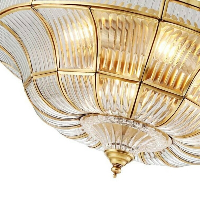 Faceted Living Room Semi Mount Lighting Vintage Ribbed Glass 3/6 Lights Clear Ceiling Lamp, 16