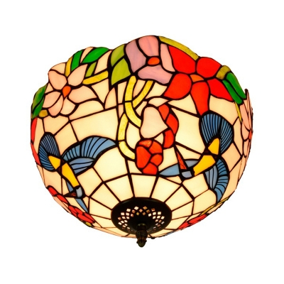 Floral Cut Glass Ceiling Flush Mount Victorian 2 Heads Brass Flush Mount Light Fixture
