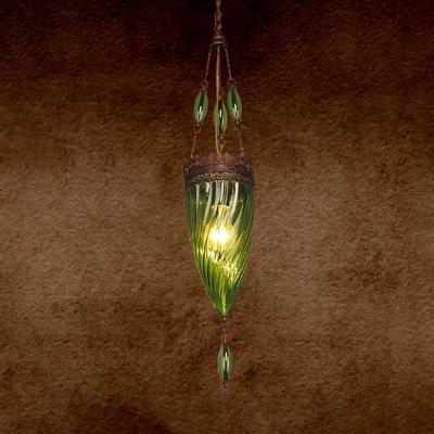 Hand Blown Glass Tan/Purple/Blue Hanging Light Cone 1 Light Moroccan Suspension Pendant for Coffee Shop