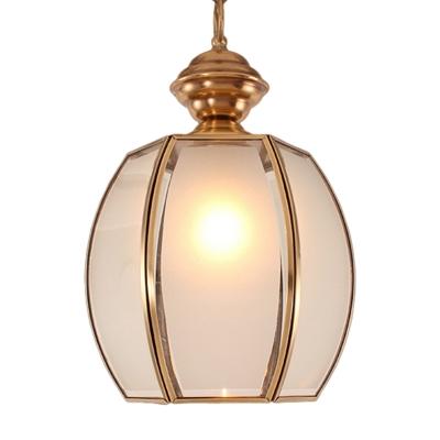 Lantern White Glass Pendant Lighting Traditional 1 Bulb Restaurant Ceiling Lamp