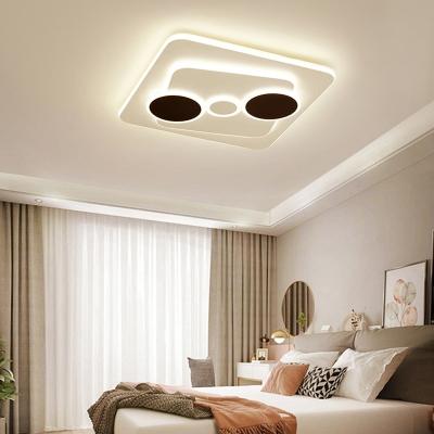 Minimalist Geometric Acrylic Ceiling Lamp Modern LED Flush Light Fixture in White-Gray