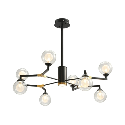 Orb Ceiling Chandelier Contemporary Clear Glass 8/10 Heads Black Hanging Pendant Light with Metal Arm