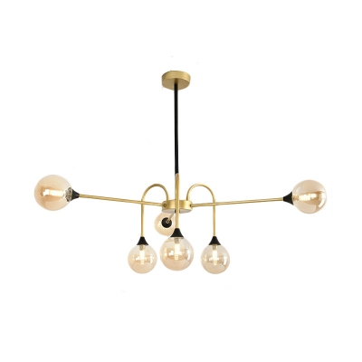 Post Modern Spherical Pendant Light Amber Glass Shade Decorative Chandelier in Black
