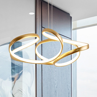 Seamless Curves Hanging Chandelier Minimalist Metal Single Pendant Light with Silica Gel Shade