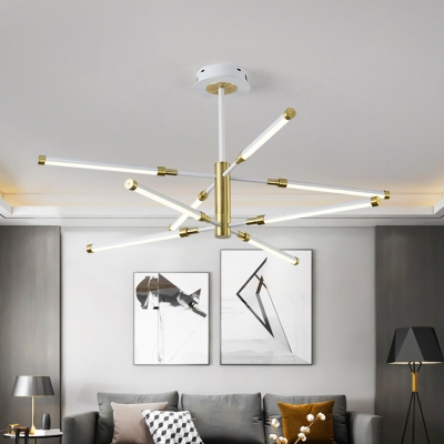 Sputnik Chandelier Lighting Postmodern Acrylic 6/8 Lights Black and Gold/White and Gold Hanging Lamp Kit