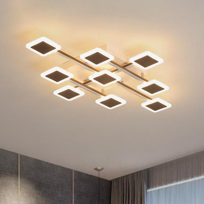 Square Acrylic Ceiling Light Fixture Modernism Brown LED Ceiling Lamp in Warm/White Light, 35.5