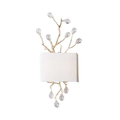White 2 Lights Wall Lighting Idea Traditional Fabric Rectangle Sconce Light with Pink/Clear Crystal Droplet