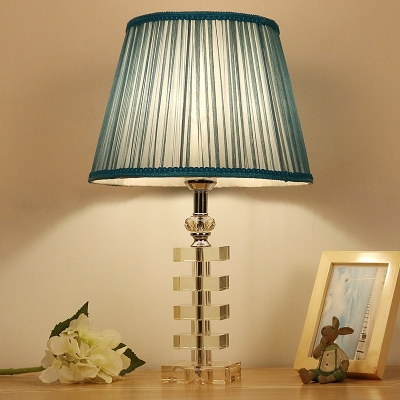 Beautifulhalo coupon: 1 Bulb Crystal Night Light Antique Blue Tapered Bedroom Table Lamp with Square Pedestal