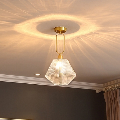 1 Bulb Geometric Ceiling Flush Mount Traditional Clear Ribbed Glass Semi Mount Lighting for Hallway