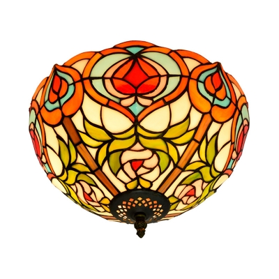2/3/5 Heads Bedroom Ceiling Mounted Fixture Baroque White and Green Flush Mount Lamp with Bowl Stained Glass, 12