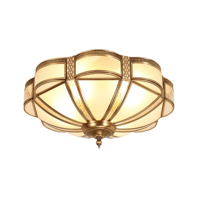 3/4/6 Lights Curved Frosted Glass Panel Flush Ceiling Light Classic Brass Dome Bedroom Flush Mount Lamp