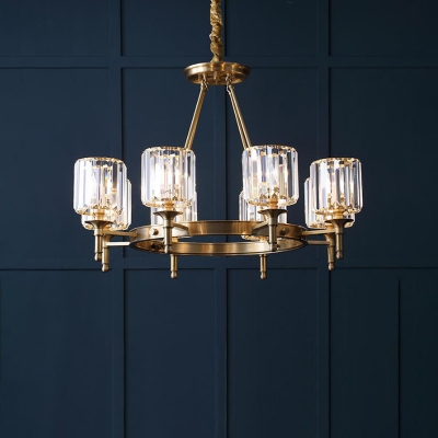 3/5/6 Heads Cylinder Chandelier Lighting Contemporary Crystal Hanging Light Fixture in Brass for Living Room