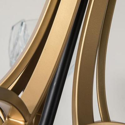 5 Heads Domed Hanging Chandelier Modernism Crystal Ceiling Pendant Light in Brass