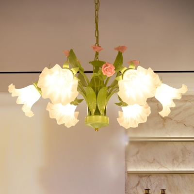 6/8 Bulbs Sandblasted Glass Chandelier Traditionalism Green Floral Bedroom Pendant Lighting Fixture