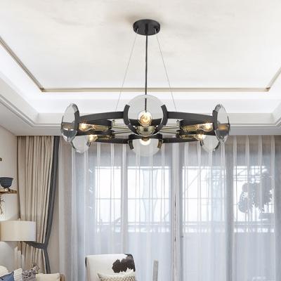 6 Heads Circular Chandelier Lighting Modernist Metal Hanging Light Fixture in Black