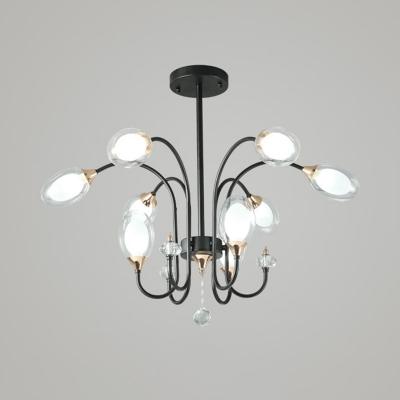 Black Curvy Arm Chandelier Light Modern 9/15 Bulbs Metal Pendant Lighting Fixture with Crystal Teardrop