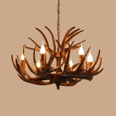Brown Branch Chandelier Lamp Rustic Resin 4/6/8 Bulbs Restaurant Hanging Light Fixture