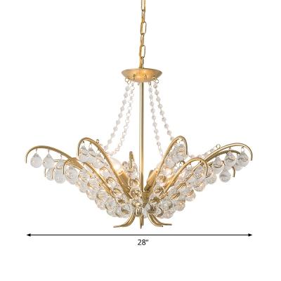 Crystal Gold Chandelier Lighting Fixture Candelabra 6 Lights Traditional Hanging Ceiling Light for Bedroom