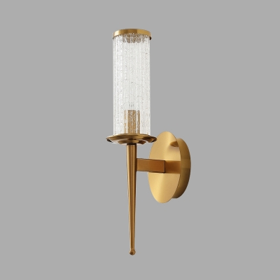 Cylindrical Bedroom Wall Mount Light Minimal Crackle Glass 1/2 Heads Gold Wall Lighting Fixture
