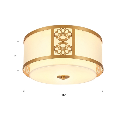 Frosted Glass Brass Ceiling Flush Drum 3/4 Heads 16