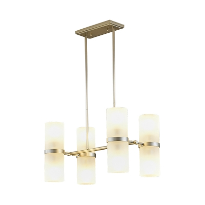 Frosted Glass Tube Chandelier Lighting Contemporary 8 Heads Gold Ceiling Hanging Light