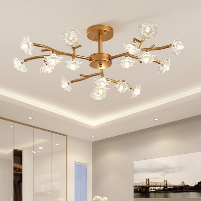 Gold Floral Ceiling Light Traditionalism 18/24 Bulbs LED Crystal Semi Flush Mount HL580861 фото