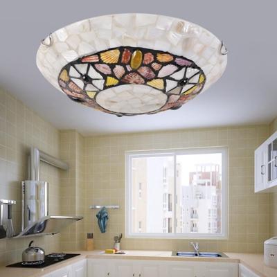 Mediterranean Bowl Shade Flush Mount Lamp 2/3/4 Lights Shell Flush Ceiling Light in White for Bedroom