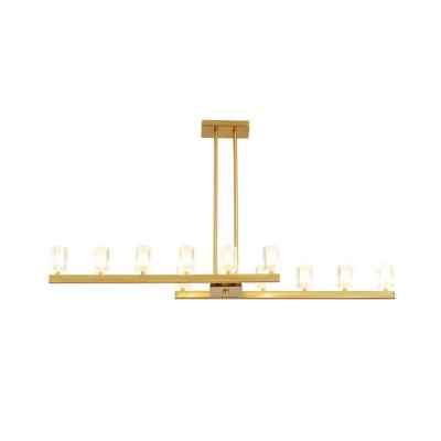 Modern Style Crystal Pendant Lighting 12 Lights Brass Island Chandelier for Dining Room