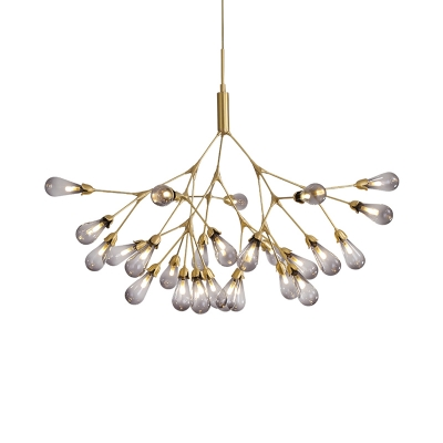 Modernism Teardrop Hanging Chandelier Smoked Glass 27 Bulbs Living Room Ceiling Pendant Light