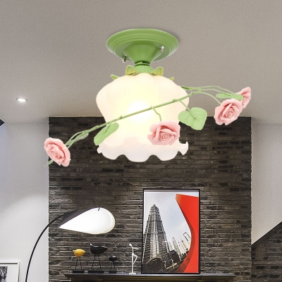 Opal Glass Bloom Ceiling Lighting Countryside 1 Head Bedroom Flush Mount Fixture in White/Green