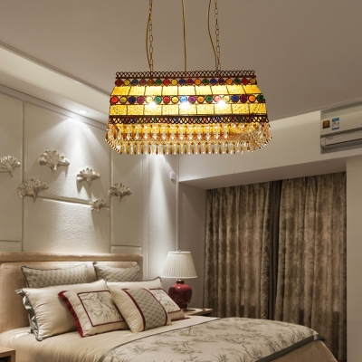 Rectangle Crystal Beaded Chandelier Lighting Tailand Style 3 Heads Dining Room Pendant Light in Yellow