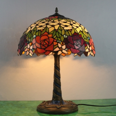 Rose Desk Light Tiffany Multicolored Stained Glass Brass LED Standing Lamp for Bedroom HL579634 фото