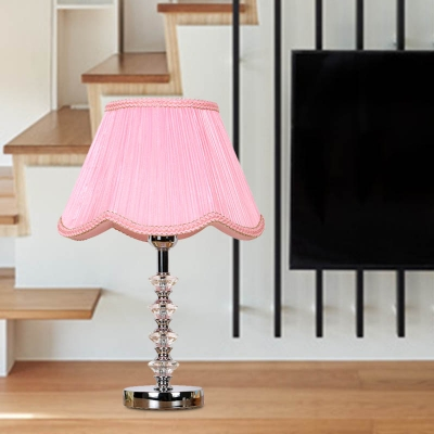 Scalloped Fabric Table Light Retro 1 Bulb Dining Room Nightstand Lamp in Pink/Red/Coffee with Crystal Accent
