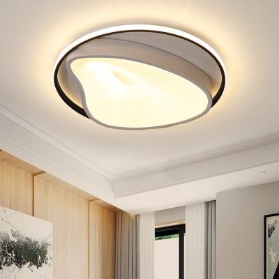Simple Style Geometric Ceiling Fixture Metal Bedroom LED Flush Mount Lamp in Gray