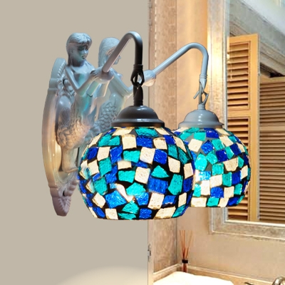 Spherical Sconce 2 Lights Cut Glass Tiffany Style Vanity Wall Light Fixture in Red/Blue/Yellow for Bathroom, Blue;orange;pink;red;white;yellow;sky blue, HL581624