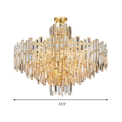 Tiered Pendant Chandelier Contemporary Crystal 8/13 Bulbs Gold Ceiling Suspension Lamp, 23.5