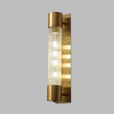 Traditionalism Cylinder Wall Mount Lamp 1 Head Crackle Glass Wall Sconce in Gold, 15