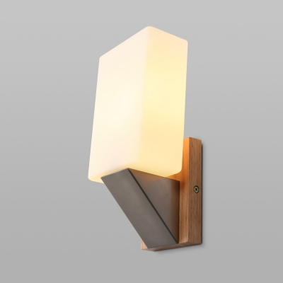 White Glass Rectangular Sconce Chinese 1 Bulb Wall Mount Light Fixture for Bedroom
