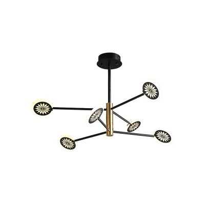 2 Tiers Pendant Light Fixture Contemporary Metal 6/8 Lights Black Chandelier Lamp in 3 Color Light