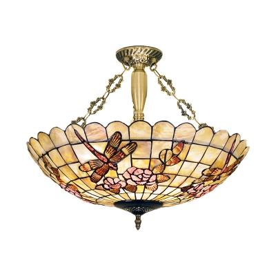 4 Lights Dragonfly Semi Flush Mount Light Brass Shell Ceiling Fixture for Bedroom