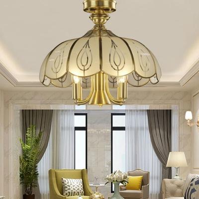 5 Bulbs Scalloped Ceiling Light Fixture Colonial Brass Satin Opal Glass Semi Flush Mount Lighting for Living Room