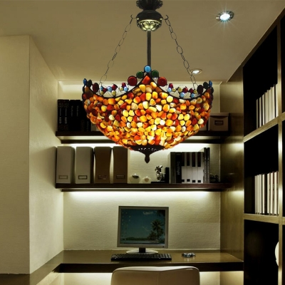 Antique Brass 3 Lights Semi Flush Mount Light Tiffany Style Stone Bowl Ceiling Lamp for Corridor
